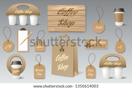 Paper pack mockups. Boxs bag packs for cosmetics, coffee shop or restaurant template. Template for corporate branding vector set