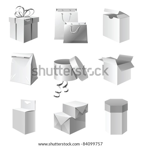 paper package icons set - stock vector