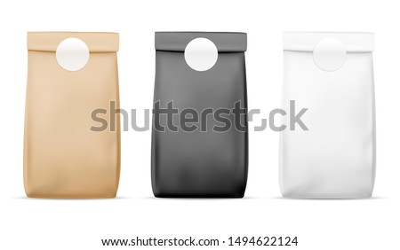 Paper packaging food bag. Blank white, brown and black bag. Product container sealed package. Retail meal wrap realistic pack of tea and snacks stand vector mockup