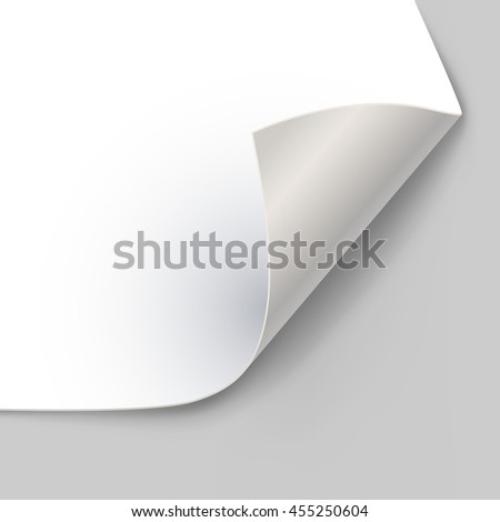Paper page corner curl with shadow vector template. Rolled sheet of paper illustration.