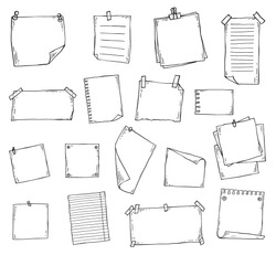 Paper page doodle set in hand drawn line art sketch style - pieces of blank note book sheets with sticky tape and other stationery isolated on white background, vector illustration