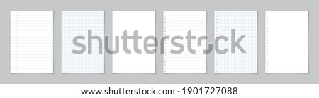 Paper page of notebook. School sheet with lines and grid. White sheets for notes. Notepad for mathematics and letter. Realistic blank notepaper with shadow isolated on gray background. Vector. Stock photo ©