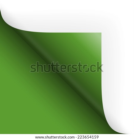 Paper / page turning over bottom left green