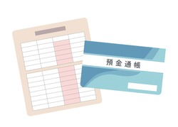 Paper passbook. Money, savings and payday image illustration. It is written in Japanese as