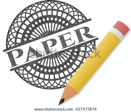 Paper pencil strokes emblem