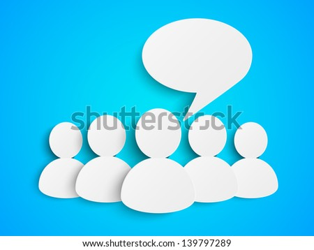 Paper people with speech bubble - stock vector