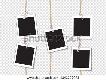 Paper Photo Frame Retro Style Hanging by Clip on Rope, Transparent Background. Сток-фото ©