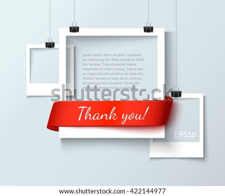 Shutterstock Paper photo frames composition. Vector photo frame template with red ribbon ant text Thank You for web sites and presentation. Photo frames illustration. Art gallery template with photo frame