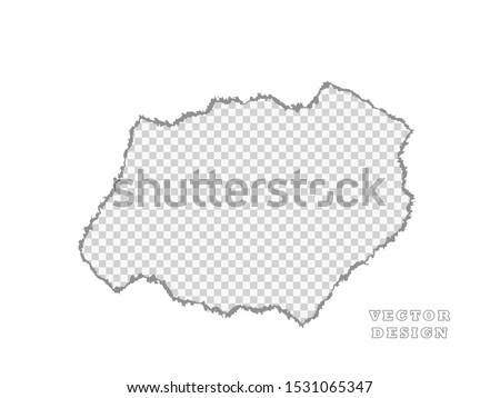Paper. Piece, is broken. A piece of white, a hole. Vector object on isolated background.