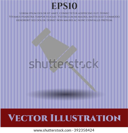 Paper Pin vector icon or symbol