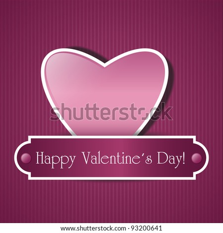 Paper pink heart over pattern background