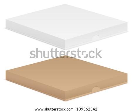 Paper pizza box set on white background. Vector illustration.