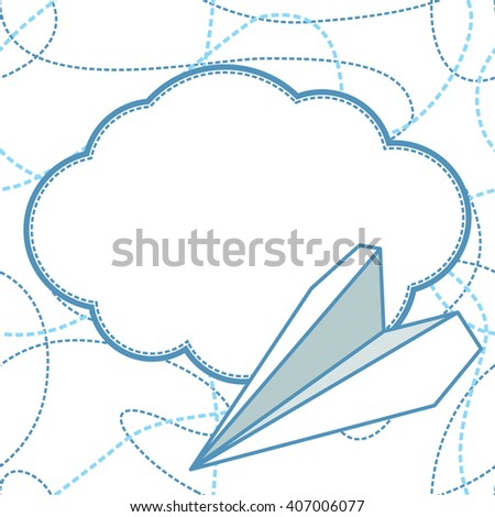 paper plane and cloud seamless