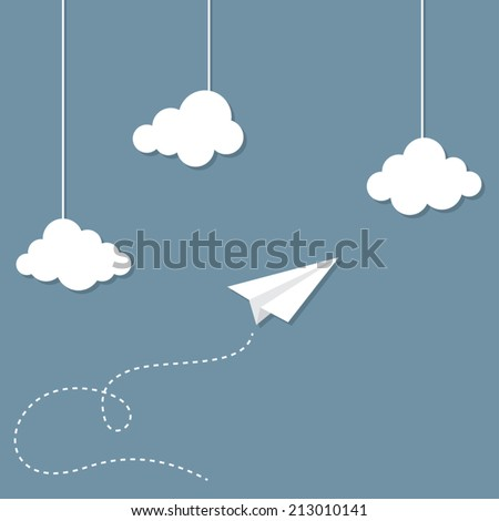 paper plane and clouds