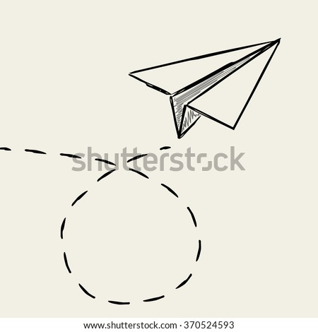 paper plane drawing with dashed