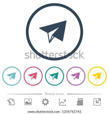 paper plane flat color icons in