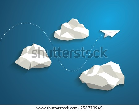 Paper plane flying between clouds. Modern polygonal shapes background, low poly. Business concept design. Eps10 vector illustration.