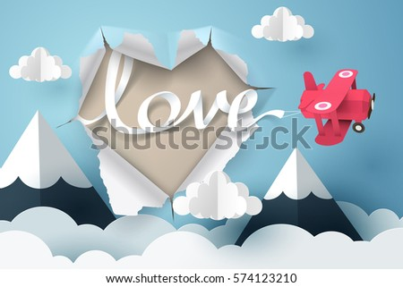 paper plane flying love text