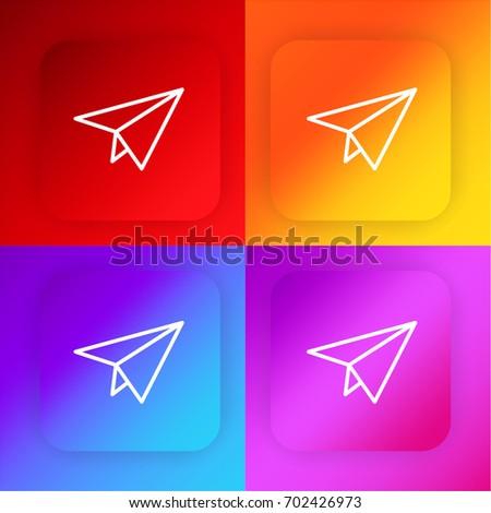 Paper plane four color gradient app icon set