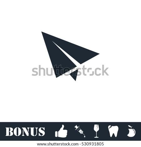 Paper plane icon flat. Vector illustration symbol and bonus pictogram