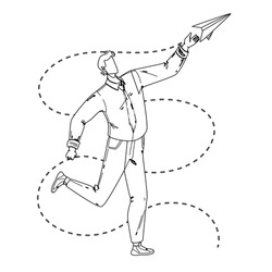 Paper Plane Launching Young Businessman Black Line Pencil Drawing Vector. Man Launch And Playing With Handmade Flying Paper Airplane. Character Boy Manager Have Funny Playful Time With Toy