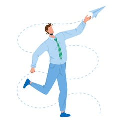 Paper Plane Launching Young Businessman Vector. Man Launch And Playing With Handmade Flying Paper Airplane. Character Boy Manager Have Funny Playful Time With Toy Flat Cartoon Illustration