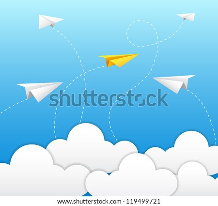 paper plane on blue sky