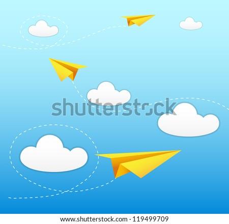 paper plane on sky
