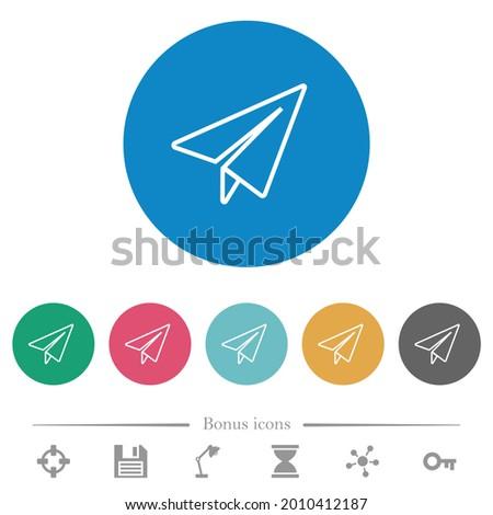 paper plane outline flat white