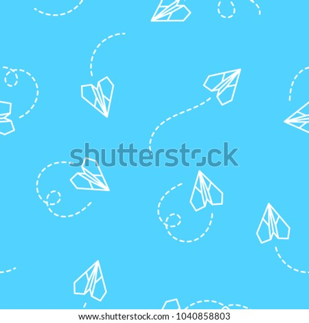 Paper plane seamless on blue background.