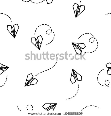 Paper plane seamless pattern on white background.