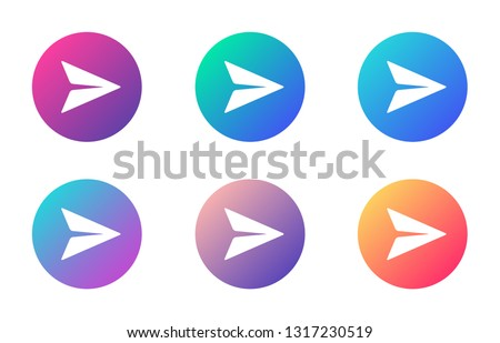 paper plane send massage account ui web button. ui elements. paper plane send massage vector icons on trendy gradients for web, mobile and user interface design
