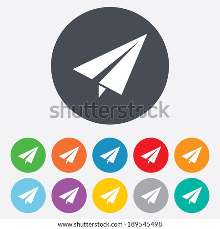Paper Plane sign. Airplane symbol. Travel icon. Flight flat label. Round colourful 11 buttons. Vector