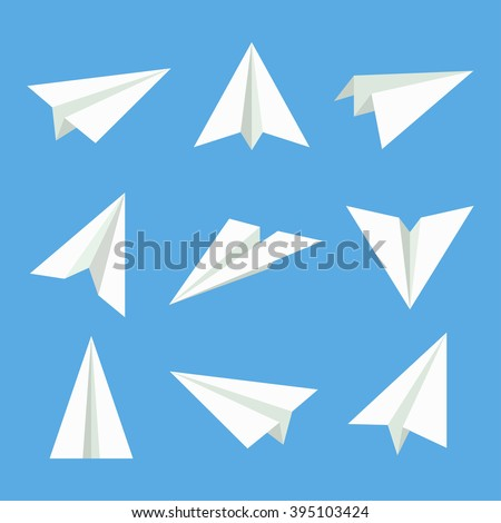 paper plane vector set  in flat