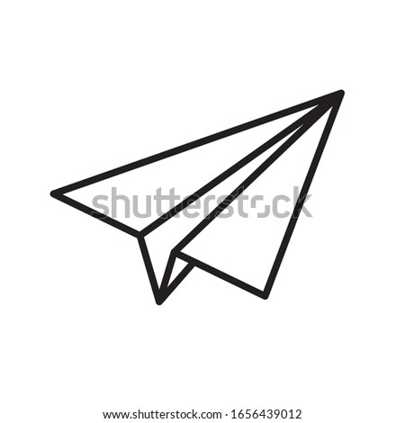 Paper plane vector thin line icon. Paper airplane jet fly flat simple outline icon Stock photo ©