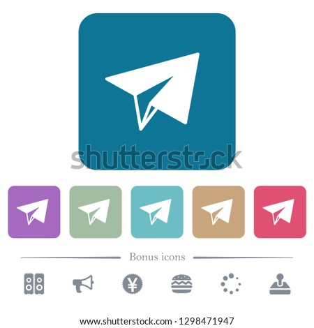 paper plane white flat icons on