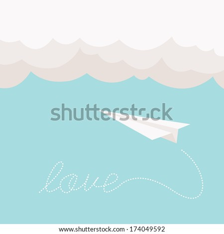 paper plane with love written
