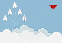 Paper planes are competing to destinations up to the sky go to success goal. business financial concept. leadership. creative idea. illustration vector. start up. paper art style