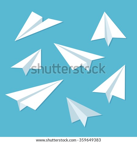 paper planes icon set in simple