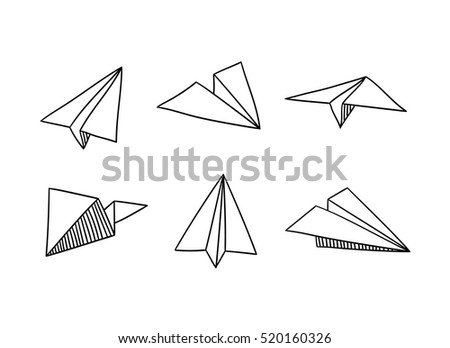 Paper Planes in doodle style - Isolated Vector Illustration