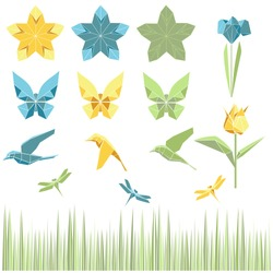 Paper polygonal origami set: tulip, iris, star birds, dragonfly, butterfly and grass