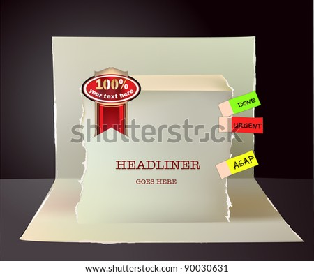 Paper pop-up design with label and sticker and space for text