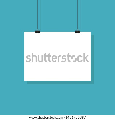 Paper poster or banner hanging. Vector board hanging on blue background with shadow in trendy flat style. EPS 10