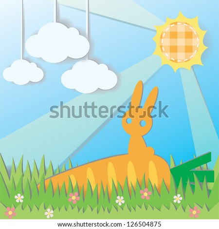 Paper Rabbit on Carrot in field background, create by vector