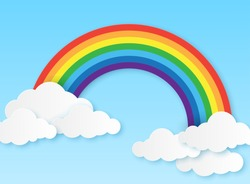 Paper rainbow. Clouds and rainbow on sky origami style, wallpaper for childrens bedroom, baby room craft design colorful vector magic kid background