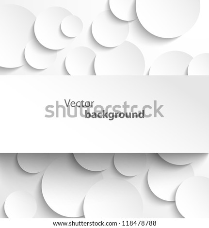 Paper rectangle banner on circle background with drop shadows. Vector illustration