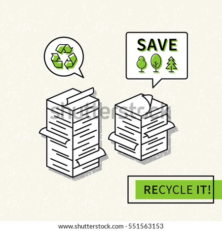 Paper recycling vector illustration. Big stacks of papers with recycle sign graphic design. Ecological paper recycling creative concept.