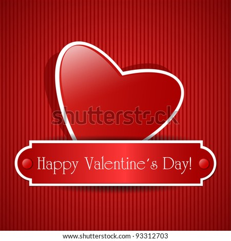 Paper red heart on pattern background. Vector card with place for text.