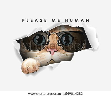 paper ripped off with cat in sunglasses illustration