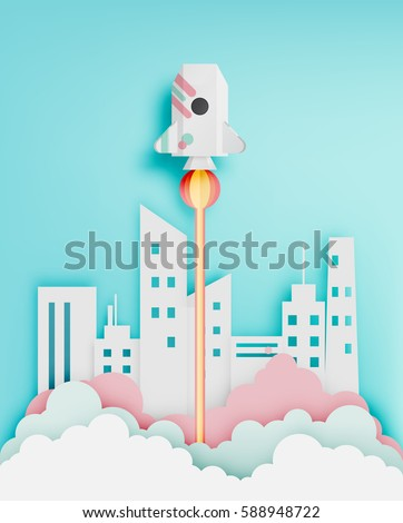 paper rocket with pastel tone